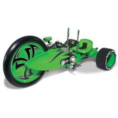 The Lean Mean Green Machine.  Inspired be the 1970's classic big-wheeled tricycle. Has a Harley v-twin Evo engine. A really nice toy for the big boys!