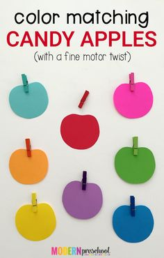 Candy Apple Color Matching – Nicole @ Modern Preschool Candy Apple Color Matching Simple candy apple color matching activity (busy bag) with a fine motor focus for toddlers and preschoolers that is perfect for fall! Preschool Apple Theme, Apple Activities, Fall Preschool, Autumn Activities, Toddler Preschool, Toddler Crafts, Toddler Activities, Preschool Apples, Color Activities For Toddlers