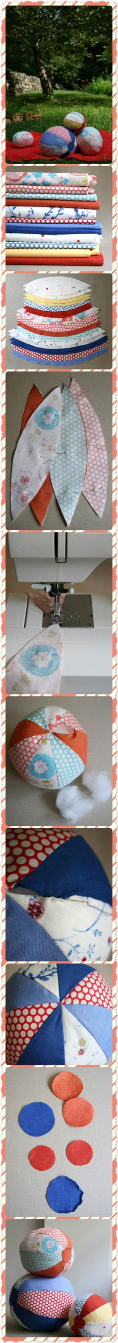 DIY FABRIC BEACH BALLS - looks like a good use for those extra scraps of material you might have lying around!