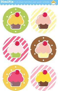 Mini Cupcakes - free  printable labels! Also, idea- just print a page of tags & cut out & use as gift tags (from DimiPix