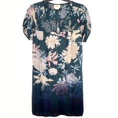 Anthropologie Edme Esyllte Tunic Dress XS Ombre Peony Floral Green Short Sleeves #EdmeEsyllte #Tunic #Versatile