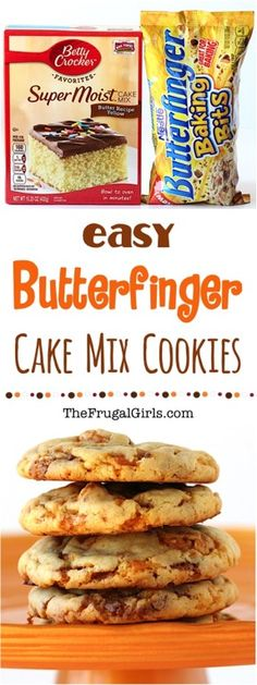 Butterfinger Cake Mix Cookies Recipe from TheFrugalGirls.com