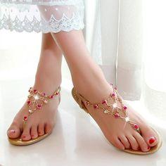 Stylish Chain and Rhinestones Design Women's Flat Sandals