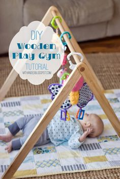 DIY Wooden Baby Gym: so wonderful, it would match projected nursery so well. Babies don't need all those bright colors! Diy Baby Gym, Baby Room Diy, Montessori Toddler, Diy Bebe, Play Gym, Baby Play Mat Gym, Everything Baby, Baby Time, Baby Crafts