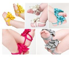 Baby Girls Soft Wrap Flower 'Sandals' – 2 Pair for $3 shipped