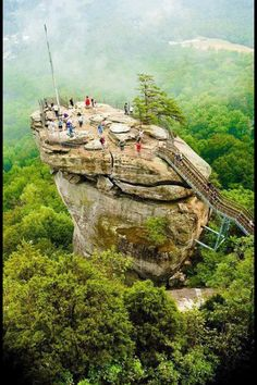 Chimney Rock, NC - We've hiked there! Beautiful views, including the waterfall... Last of the Mohicans was filmed there...