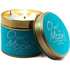 Lily-Flame Over The Moon Candle Tin (45 PEN) ❤ liked on Polyvore featuring home, home decor, candles & candleholders, lily flame candles and tin candles