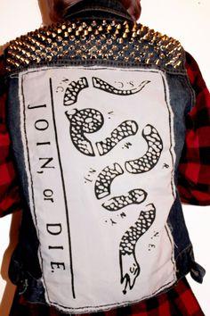Join, or Die Studded Denim Vest / Studs / Punk Rock Clothing / Civil War Americana / Jean Vest. $95.00, via Etsy.