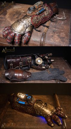 Handmade Victorian / Steampunk Gauntlet with Light Effects and tooled Metal/Leatherworks 980 Euro / Piece