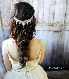 Bridal Headpiece Bridal Headband Hair Chain Head by HairFloaters