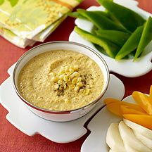 4 Tbsp fat-free cream cheese 2 item(s) canned chipotle peppers in adobo sauce, seeded 3 cup(s) frozen corn kernels, or fresh corn kernels* 2 Tbsp fresh lime juice 1 1/2 tsp ground cumin 1/2 tsp table salt pulse a few times, scrape down the sides of the bowl, and process until smooth.refrigerate for up to 3 days; return to room temperature before serving