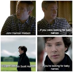 "remember the hamish watson-holmes? John actually suggest ""hamish"" to Sherlock and Irene, telling them that the name is taken from John Hamish Watson XD"