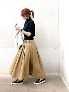 Which happens to be a gown attached inside a relaxed method with a casual top notch. B Fashion, Modest Fashion, Fashion Dresses, Simple Outfits, Casual Outfits, Black Pencil Skirt Outfit, Stylish Dresses, Dresses For Work, Long Skirt Fashion