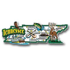 Our Tennessee jumbo state magnet measures approximately 9 square inches and has a thickness of 0.1. This Classic Tennessee State Jumbo Magnet is perfect for any refrigerator or metal surface and makes