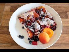 Obstkuchen American Style -  geht praktisch mit allen Früchten - Rezept ... So einfach und ganz ohne Ei. Lässt sich sogar prima als veganen Obstkuchen backen indem man Butter gegen Alsan austauscht und Reismilch oder Sojamilch gegen die Buttermilch