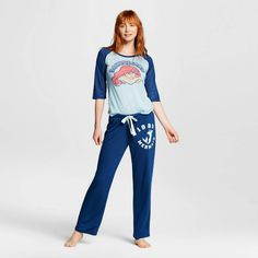 96eb619fbf Disney® The Little Mermaid Women s Tee Pant Pajamas Set - Blue S   Target