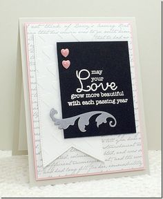 Romantic Script Background, Together Forever, Pierced Fishtail Flags STAX die-namics, Scrolled Flourishes Die-namics, Graduated Hearts Stencil - Barbara Anders #mftstamps