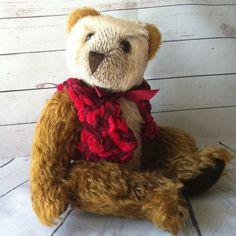 One of a kind, mohair teddy bear.