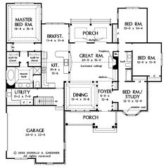 653722 - 1 Story 4 Bedroom French Country House Plan : House Plans ...