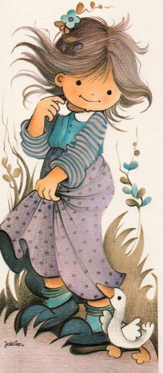 Adorable girl with duck Art And Illustration, Illustrations, Pintura Country, Sarah Kay, Holly Hobbie, Precious Children, Tole Painting, Copics, Vintage Children