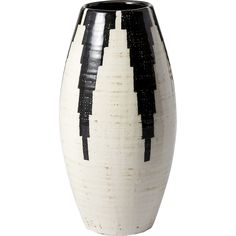 Shop Siena Black and White Vase. Handcrafted in a small Tuscan village where ceramics have been made since the 1400s, earthenware vase exudes old-world style.