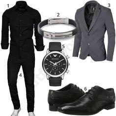 Schwarzes Business-Outfit mit Sakko, Hemd und grauem Sakko (m0841) #hemd #sakko #business #gent #gentlemen #outfit #style #herrenmode #männermode #fashion #menswear #herren #männer #mode #menstyle #mensfashion #menswear #inspiration #cloth #ootd #herrenoutfit #männeroutfit