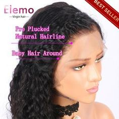 Elemo 360 Lace Frontal Wigs With Baby Hair Water Wave 100% Virgin Human Hair – Elemo Hair Lace Front Wigs, Lace Wigs, Short Hair Ponytail, Curly Hair Styles, Natural Hair Styles, Curly Full Lace Wig, Loose Waves Hair, Wave Hair, 100 Human Hair Wigs