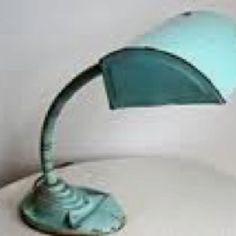 Vintage aqua desk lamp