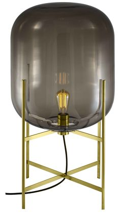 Oda Table Light In Smoky Grey Shade With Brass Base