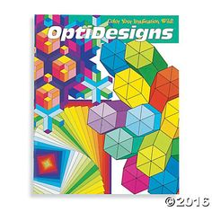 OptiDesigns Coloring Book: Let your imagination loose with this fantastically satisfying coloring book concept. Mosaics of angles, curves and patterns come alive in each of these original designs. You explore their potential by choosing how to color each shape. #MindWareToys #FreePrintable #AdultColoring