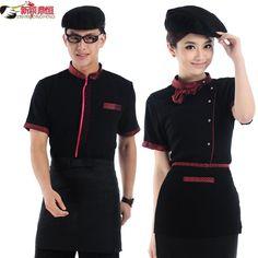 Resultado de imagem para work clothing for restaurant women Staff Uniforms, Work Uniforms, Waiter Uniform, Housekeeping Uniform, Hotel Uniform, Restaurant Uniforms, Costume Design, Work Wear, Short Sleeve Dresses