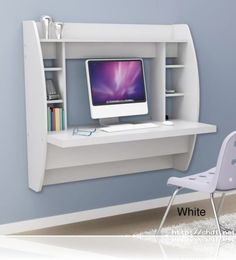 White Floating Computer Desk Storage Home Office Furniture Modern Student NEW