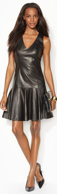 LOOKandLOVEwithLOLO- Ralph Lauren's Fall Wardrobe: LAUREN COLLECTION Lauren Leather V-Neck Dress