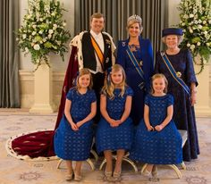 Queen, now technically a Princess, Beatrix on the abdication day with her son, King Willem Alexandra, Queen Maxima, and Princesses Amalia, Alexia, Ariane