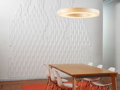 Wall treatments that aren't painted and will better resist wear-and-tear Modern Wall Paneling, Chevron Tile, Modular Walls, Chic Wallpaper, Corporate Interiors, Acrylic Panels, Wall Tiles, Mosaic Tiles, Acoustic Panels