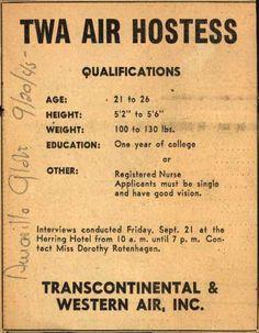 Transcontinental & Western Air's Air Hostess Employment – TWA Air Hostess Qualifications (1945)