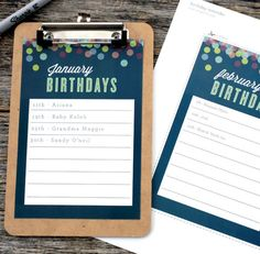 Forget a friend's birthday or worse—a relative's? A monthly birthday reminder board will help you remember who needs a card. A printable, card stock and a clipboard are all you need. - Everyday Dishes & DIY