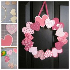 valentine's day diy wreath paper hearts Informations About DIY Valentinstag - Geschenke und Deko Valentine Day Wreaths, Valentines Day Decorations, Valentines Day Party, Valentine Day Crafts, Holiday Crafts, Valentine Ideas, Printable Valentine, Homemade Valentines, Valentine Box