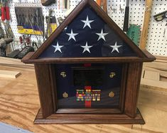 3 x 5 ft Flag Dog House Shadow Box Military Retirement Parties, Military Shadow Box, Flag Holder, Fabric Display, Wood Stain Colors, Sofa End Tables, Wood Accents, Wood Pieces, Display Case