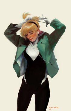 Gwen Stacy: Ponytail, Miguel Mercado on ArtStation at https://www.artstation.com/artwork/6V6e0