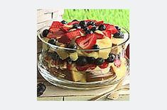 Similar to English trifle, this dessert layers vanilla pudding, pound cake cubes and fresh berries in a bowl. It's a cool ending to summer meals.