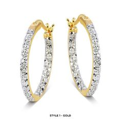 18-Karat Gold-Plated Genuine White & Black Diamond Accent Inside-Out Hoops - Assorted Styles at 94% Savings off Retail!