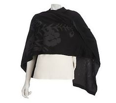 Dennis Basso Reversible Floral Intarsia Cape