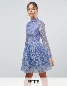 Chi Chi London Petite High Neck Mini Dress With Lace Back