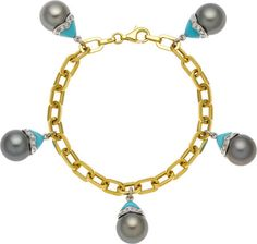 Estate Jewelry:Bracelets, South Sea Cultured Pearl, Turquoise, Diamond, Gold Bracelet. ... Image #1