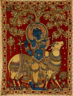 Kalamkari.sweet Krishna under tree with his cow playing flute in indian folk art style