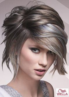 Medium haircuts for woman photo I love the asymmetry and the color!!