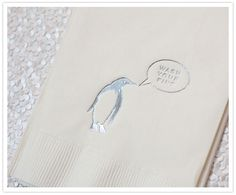 "cheree berry penguin ""wash your fins"" whimsical wedding napkin. Hahahaha :D"