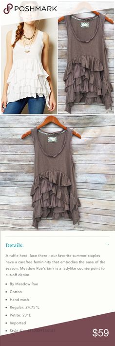 """Anthropologie Meadow Rue Petticoat Tank Beautiful raw edge cascading ruffles on this sleeveless Knit Blouse by Meadow Rue. Flat bust measurement 19"""", length 26"""" to shortest point 33"""" to longest point.  Cotton Anthropologie Tops"""