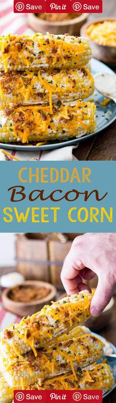 Sweet corn, slathered in sour cream, cheese, and bacon! This amazing sweet corn side dish is grilled and perfect for a summer dinner!  #DIY